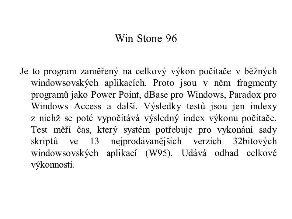 Win Stone 96 Je to program zaměřený na celkový výkon počítače v běžných windowsovských aplikacích. Proto jsou v něm fragmenty programů jako Power Poin