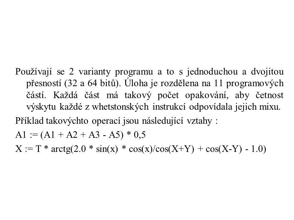 Používají se 2 varianty programu a to s jednoduchou a dvojitou přesností (32 a 64 bitů). Úloha je rozdělena na 11 programových částí. Každá část má ta