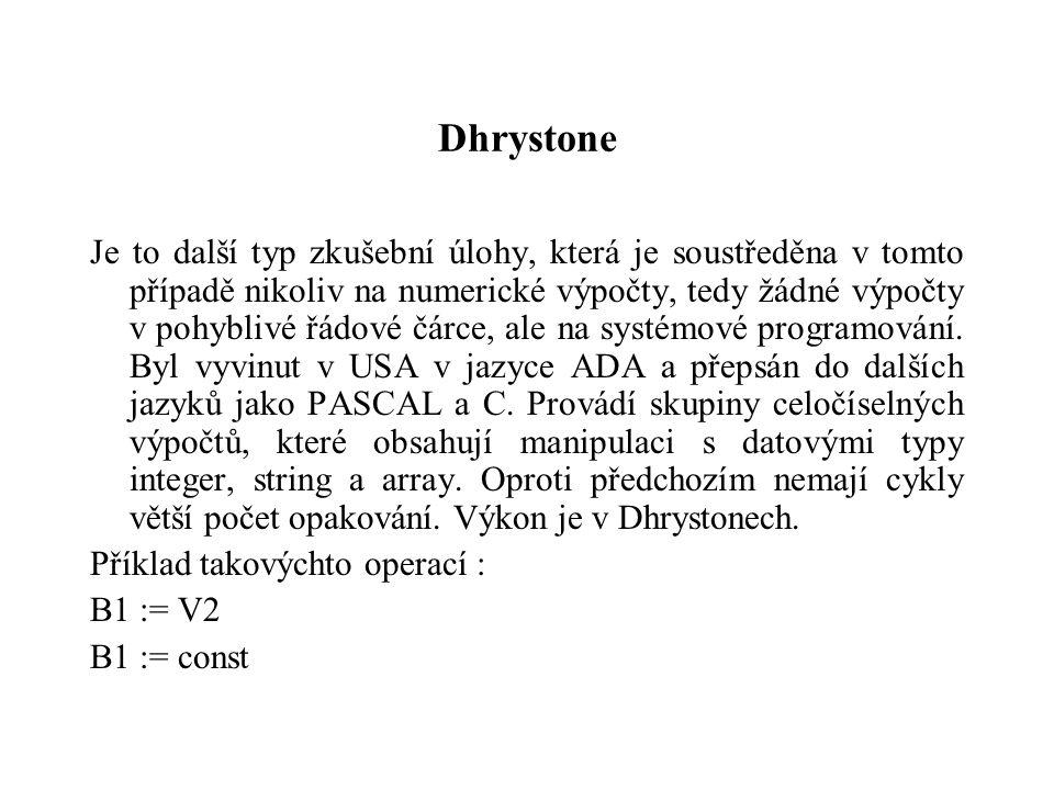 Dhrystone Je to další typ zkušební úlohy, která je soustředěna v tomto případě nikoliv na numerické výpočty, tedy žádné výpočty v pohyblivé řádové čár