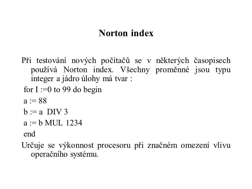 Norton index Při testování nových počítačů se v některých časopisech používá Norton index. Všechny proměnné jsou typu integer a jádro úlohy má tvar :