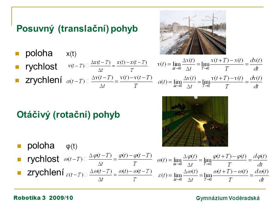 Robotika 3 2009/10Gymnázium Voděradská poloha x(t) rychlost zrychlení Posuvný (translační) pohyb poloha φ(t) rychlost zrychlení Otáčivý (rotační) pohyb