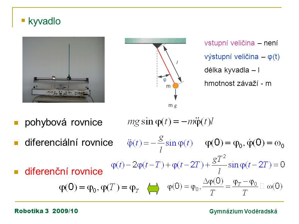 Robotika 3 2009/10Gymnázium Voděradská  kyvadlo vstupní veličina – není výstupní veličina – φ(t) délka kyvadla – l hmotnost závaží - m m m φ pohybová rovnice diferenciální rovnice diferenční rovnice