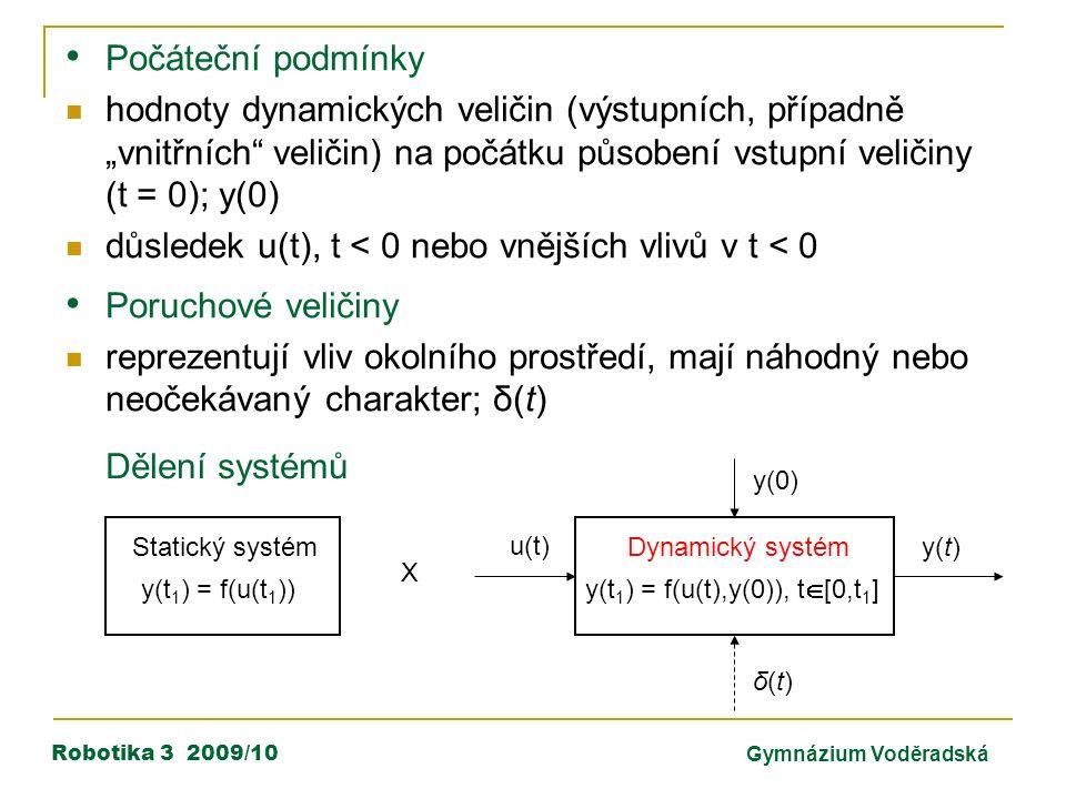 """Robotika 3 2009/10Gymnázium Voděradská Počáteční podmínky hodnoty dynamických veličin (výstupních, případně """"vnitřních veličin) na počátku působení vstupní veličiny (t = 0); y(0) důsledek u(t), t < 0 nebo vnějších vlivů v t < 0 Poruchové veličiny reprezentují vliv okolního prostředí, mají náhodný nebo neočekávaný charakter; δ(t) y(t 1 ) = f(u(t 1 )) Statický systém Dynamický systém y(t 1 ) = f(u(t),y(0)), t  [0,t 1 ] u(t) y(t) y(0) δ(t)δ(t) X Dělení systémů"""