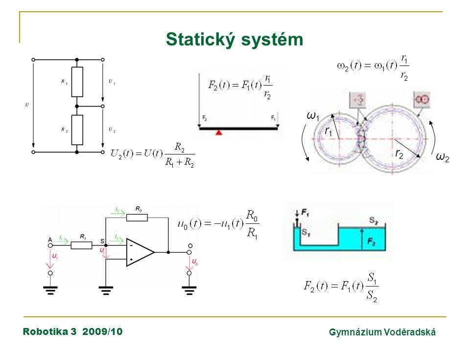Robotika 3 2009/10Gymnázium Voděradská Statický systém ω1ω1 ω2ω2 r1r1 r2r2