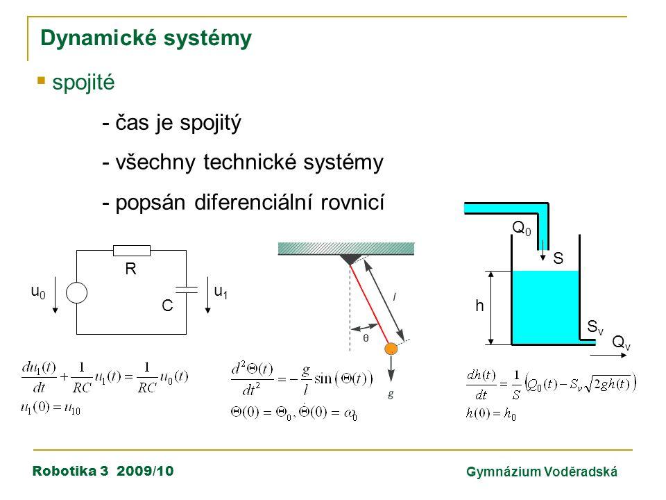 Robotika 3 2009/10Gymnázium Voděradská Dynamické systémy  spojité - čas je spojitý - všechny technické systémy - popsán diferenciální rovnicí C R u0u