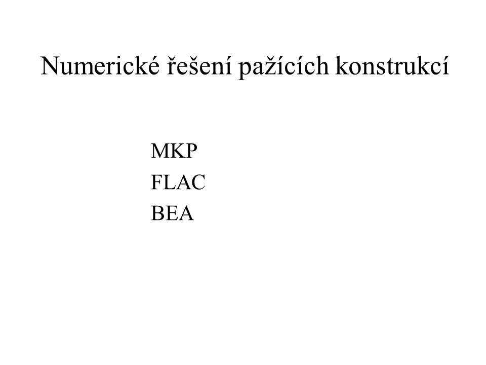 Numerické řešení pažících konstrukcí MKP FLAC BEA