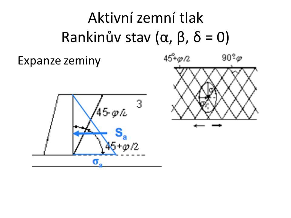 Aktivní zemní tlak – soudržné zeminy Na začátku nejsou posuny: Pokud konstrukce před zeminou uhne (pootočí se kolem paty), pak svislé napětí  v zůstává stejné a  h se zmenšuje až do kolapsu konstrukce