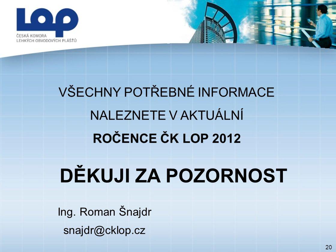 20 VŠECHNY POTŘEBNÉ INFORMACE NALEZNETE V AKTUÁLNÍ ROČENCE ČK LOP 2012 DĚKUJI ZA POZORNOST Ing.