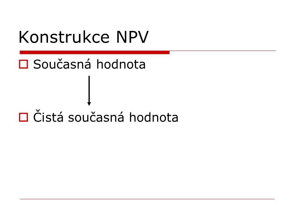 Konstrukce NPV  Současná hodnota  Čistá současná hodnota