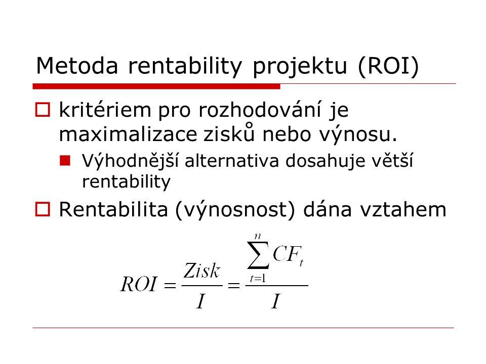 Metoda rentability projektu (ROI)  kritériem pro rozhodování je maximalizace zisků nebo výnosu.