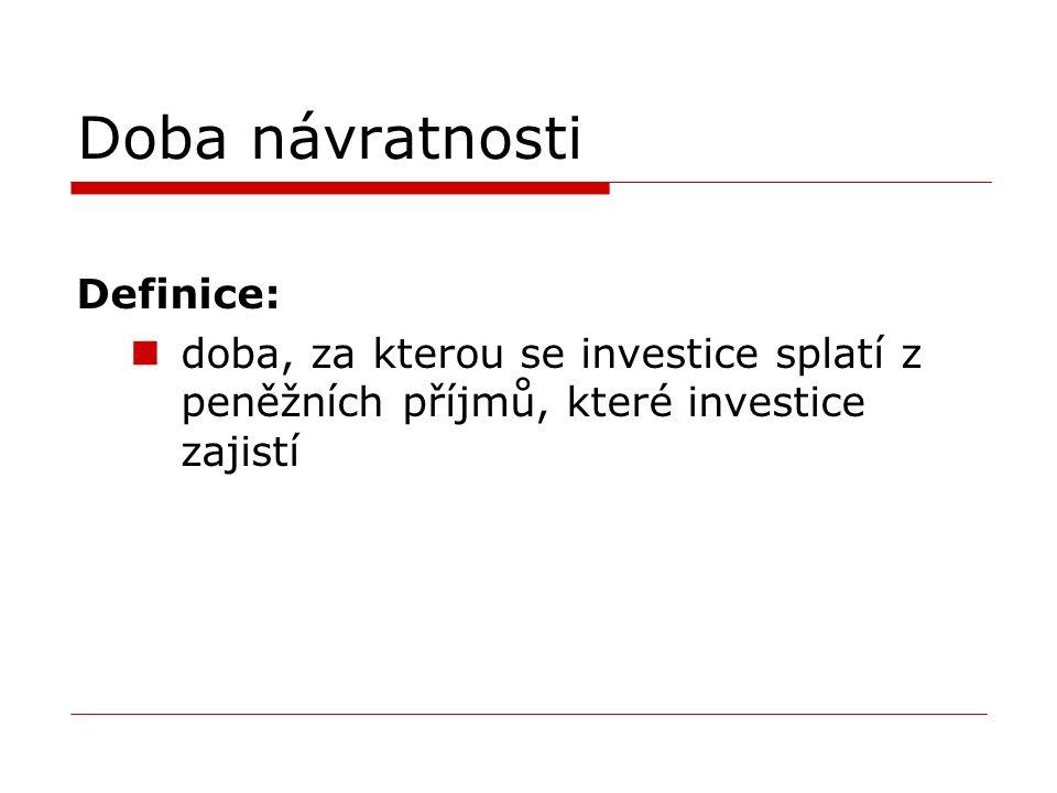 Doba návratnosti Definice: doba, za kterou se investice splatí z peněžních příjmů, které investice zajistí