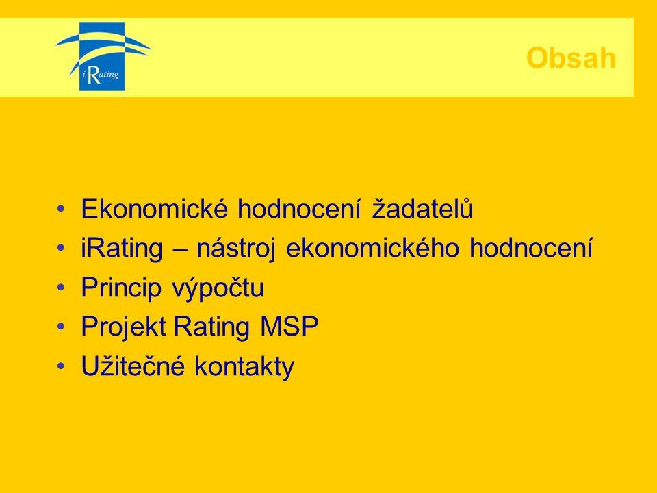 Ekonomické hodnocení žadatelů iRating – nástroj ekonomického hodnocení Princip výpočtu Projekt Rating MSP Užitečné kontakty Obsah