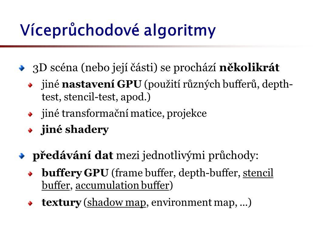 Víceprůchodové algoritmy 3D scéna (nebo její části) se prochází několikrát jiné nastavení GPU (použití různých bufferů, depth- test, stencil-test, apod.) jiné transformační matice, projekce jiné shadery předávání dat mezi jednotlivými průchody: buffery GPU (frame buffer, depth-buffer, stencil buffer, accumulation buffer) textury (shadow map, environment map,...)