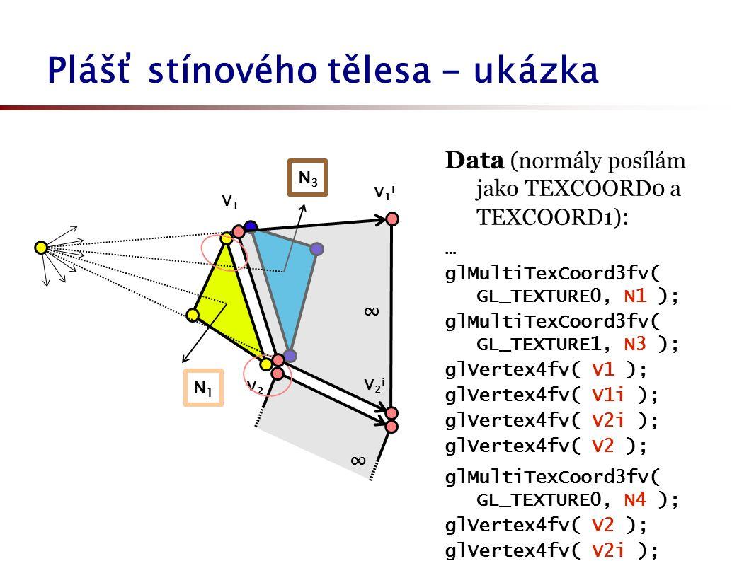 Plášť stínového tělesa - ukázka V2V2 N1N1 V1V1 N3N3 ∞ ∞ V1iV1i V2iV2i Data (normály posílám jako TEXCOORD0 a TEXCOORD1) : … glMultiTexCoord3fv( GL_TEXTURE0, N1 ); glMultiTexCoord3fv( GL_TEXTURE1, N3 ); glVertex4fv( V1 ); glVertex4fv( V1i ); glVertex4fv( V2i ); glVertex4fv( V2 ); glMultiTexCoord3fv( GL_TEXTURE0, N4 ); glVertex4fv( V2 ); glVertex4fv( V2i ); …