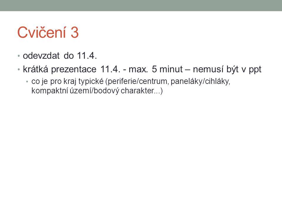 Cvičení 3 odevzdat do 11.4. krátká prezentace 11.4. - max. 5 minut – nemusí být v ppt co je pro kraj typické (periferie/centrum, paneláky/cihláky, kom