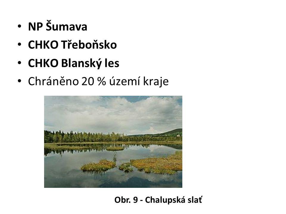 NP Šumava CHKO Třeboňsko CHKO Blanský les Chráněno 20 % území kraje Obr. 9 - Chalupská slať