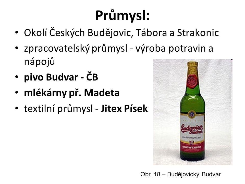 Průmysl: Okolí Českých Budějovic, Tábora a Strakonic zpracovatelský průmysl - výroba potravin a nápojů pivo Budvar - ČB mlékárny př.