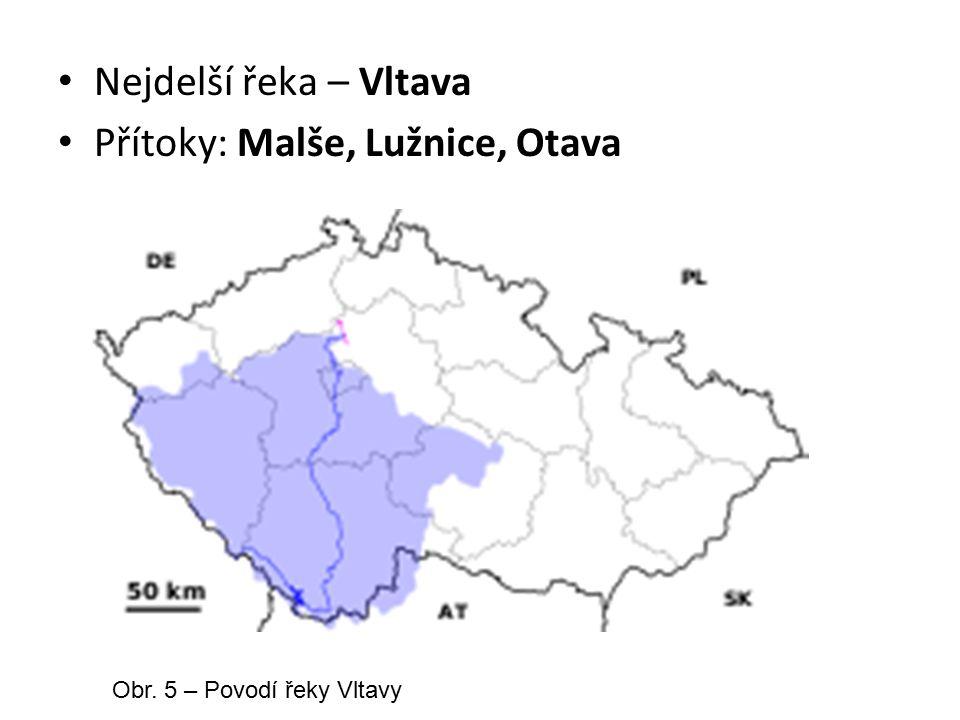 Přehradní nádrže: Lipno (rozlohou největší v ČR) Orlík (nejhlubší v ČR) Obr.