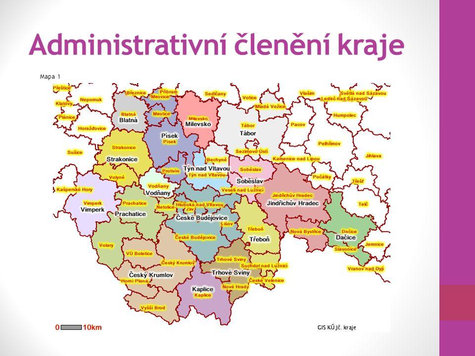 Administrativní členění kraje Mapa 1
