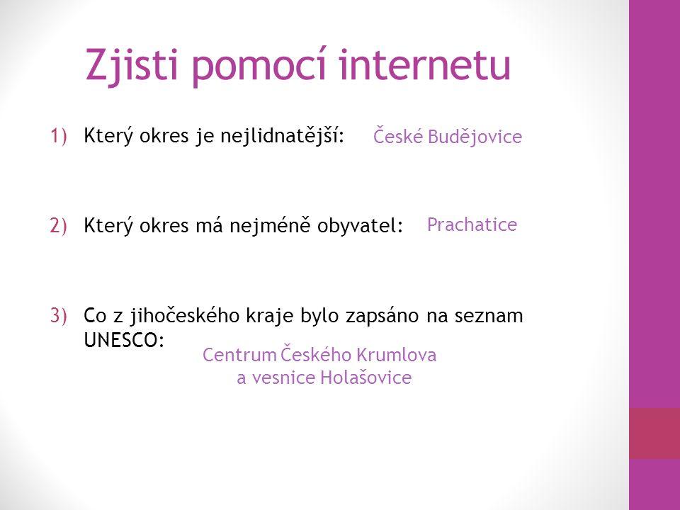 Zjisti pomocí internetu 1)Největší města Jižních Čech a seřaď je podle počtu obyvatel.