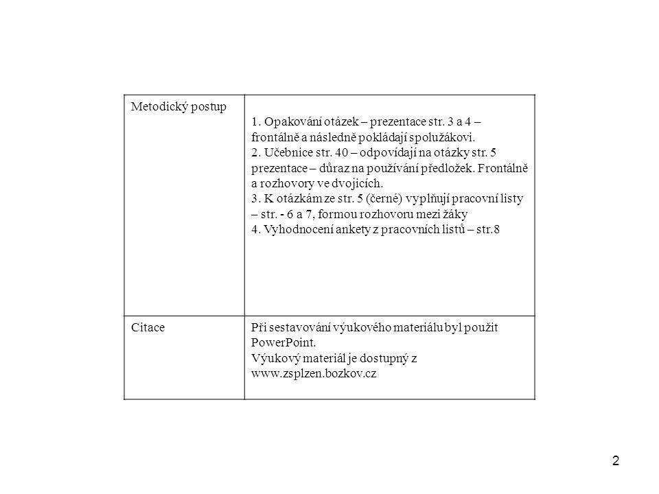 2 Metodický postup 1. Opakování otázek – prezentace str.