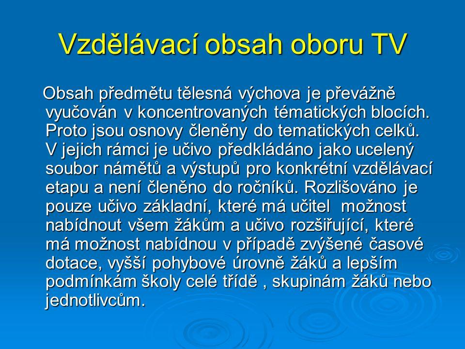 Vzdělávací obsah oboru TV Obsah předmětu tělesná výchova je převážně vyučován v koncentrovaných tématických blocích.