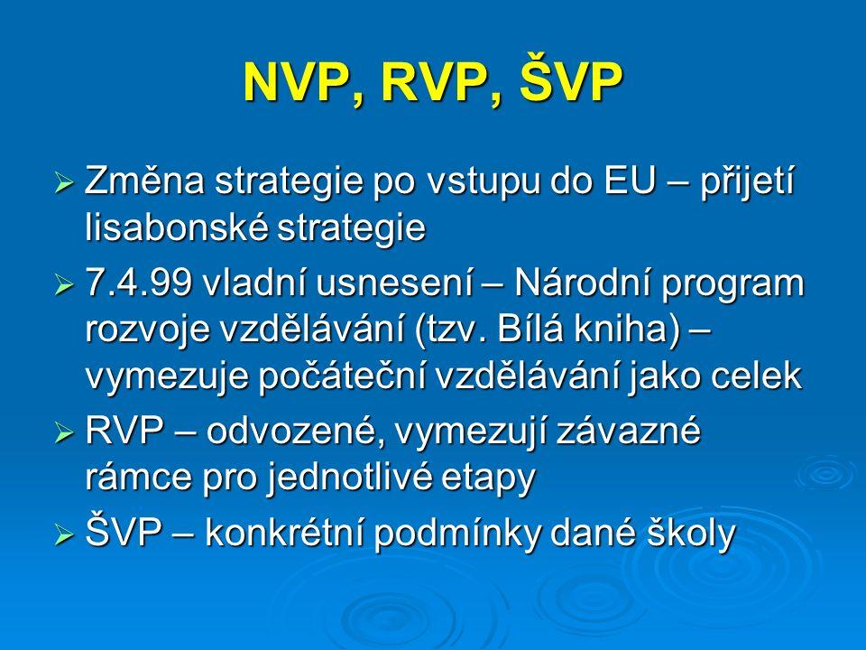 NVP, RVP, ŠVP  Změna strategie po vstupu do EU – přijetí lisabonské strategie  7.4.99 vladní usnesení – Národní program rozvoje vzdělávání (tzv.