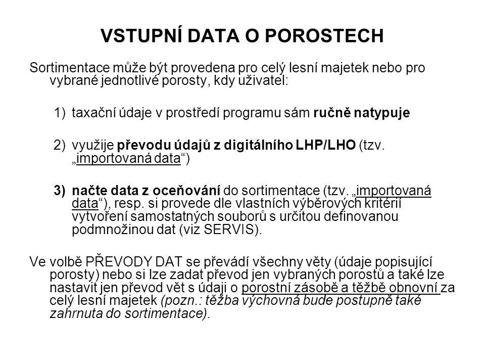 VSTUPNÍ DATA O POROSTECH Sortimentace může být provedena pro celý lesní majetek nebo pro vybrané jednotlivé porosty, kdy uživatel: 1)taxační údaje v prostředí programu sám ručně natypuje 2)využije převodu údajů z digitálního LHP/LHO (tzv.