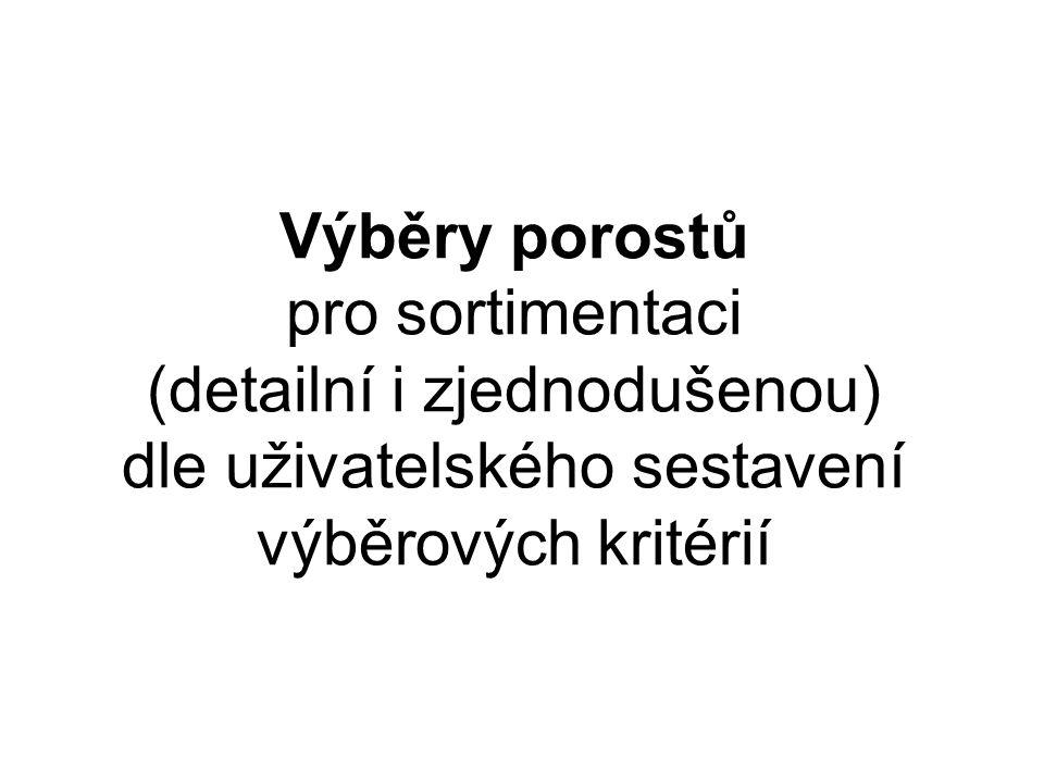 Výběry porostů pro sortimentaci (detailní i zjednodušenou) dle uživatelského sestavení výběrových kritérií