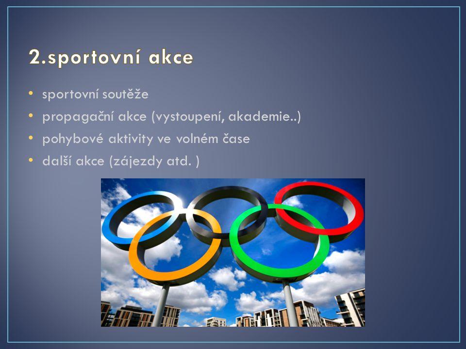 sportovní soutěže propagační akce (vystoupení, akademie..) pohybové aktivity ve volném čase další akce (zájezdy atd.