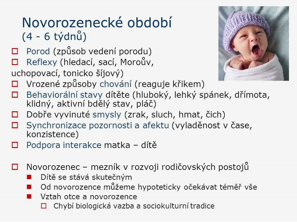 Novorozenecké období (4 - 6 týdnů)  Porod (způsob vedení porodu)  Reflexy (hledací, sací, Moroův, uchopovací, tonicko šíjový)  Vrozené způsoby chování (reaguje křikem)  Behaviorální stavy dítěte (hluboký, lehký spánek, dřímota, klidný, aktivní bdělý stav, pláč)  Dobře vyvinuté smysly (zrak, sluch, hmat, čich)  Synchronizace pozornosti a afektu (vyladěnost v čase, konzistence)  Podpora interakce matka – dítě  Novorozenec – mezník v rozvoji rodičovských postojů Dítě se stává skutečným Od novorozence můžeme hypoteticky očekávat téměř vše Vztah otce a novorozence  Chybí biologická vazba a sociokulturní tradice