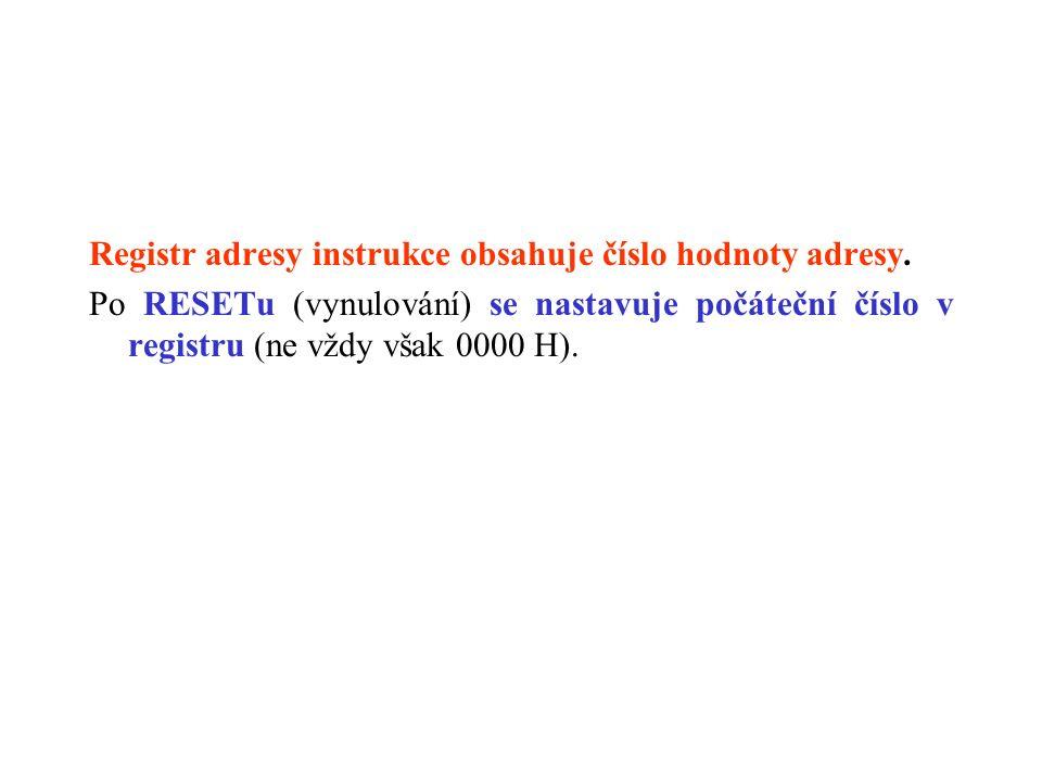 Registr adresy instrukce obsahuje číslo hodnoty adresy.