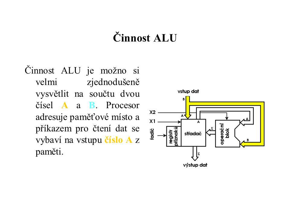 Činnost ALU Činnost ALU je možno si velmi zjednodušeně vysvětlit na součtu dvou čísel A a B.