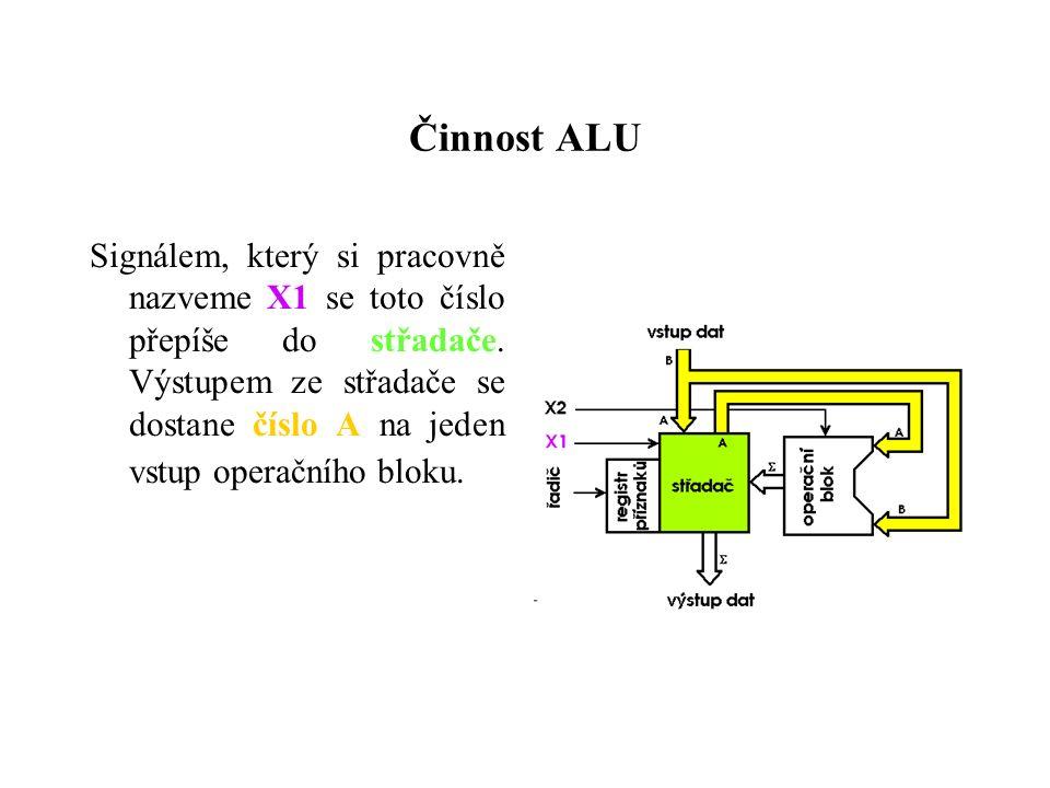 Činnost ALU Signálem, který si pracovně nazveme X1 se toto číslo přepíše do střadače.