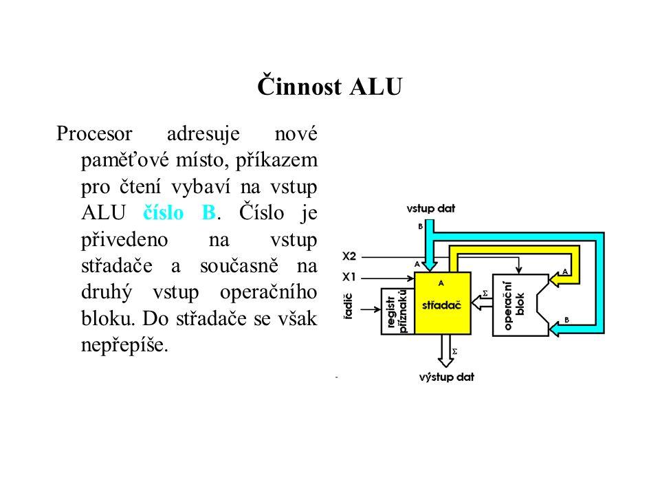 Činnost ALU Procesor adresuje nové paměťové místo, příkazem pro čtení vybaví na vstup ALU číslo B.