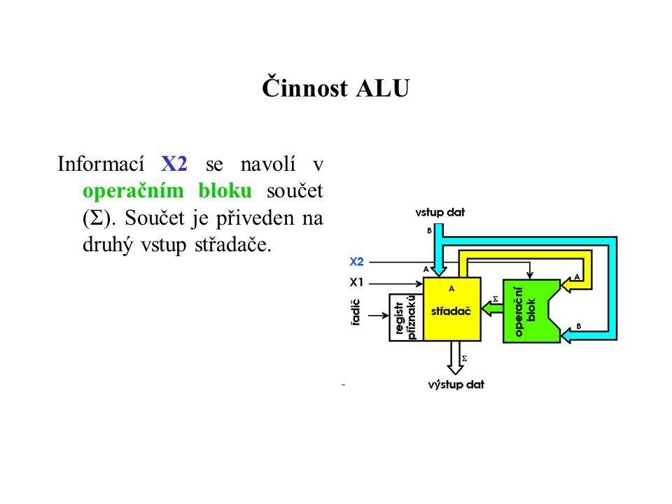 Činnost ALU Informací X2 se navolí v operačním bloku součet (Σ).