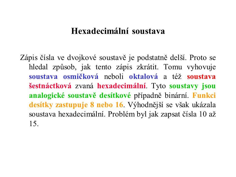 Hexadecimální soustava Zápis čísla ve dvojkové soustavě je podstatně delší.