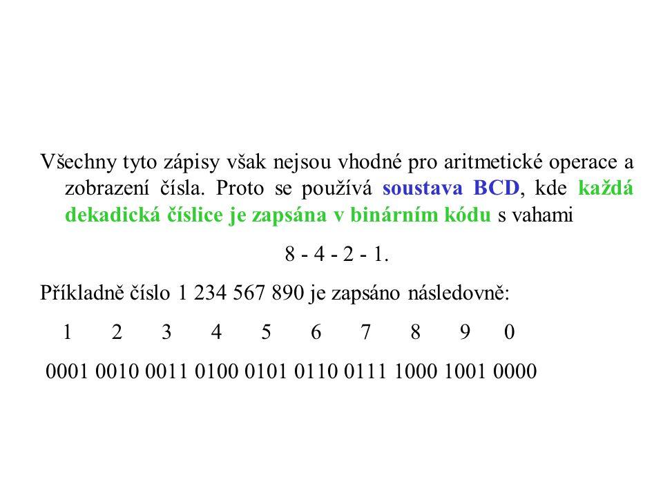 Všechny tyto zápisy však nejsou vhodné pro aritmetické operace a zobrazení čísla.