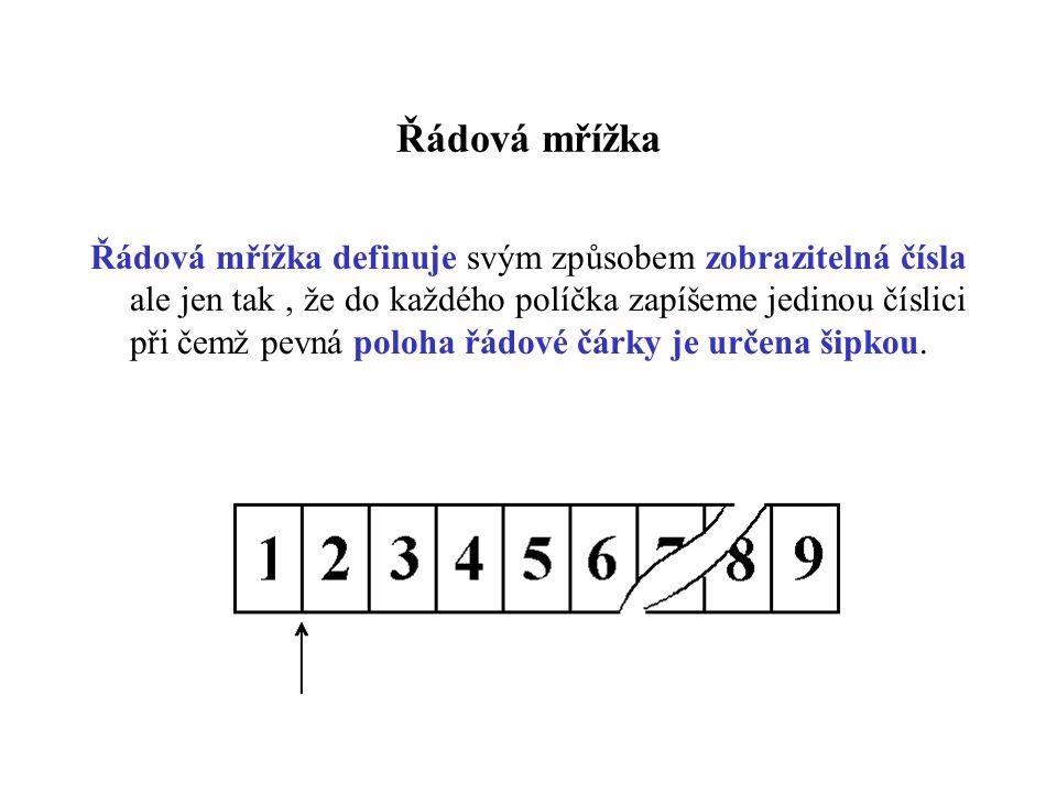 Řádová mřížka Řádová mřížka definuje svým způsobem zobrazitelná čísla ale jen tak, že do každého políčka zapíšeme jedinou číslici při čemž pevná poloha řádové čárky je určena šipkou.