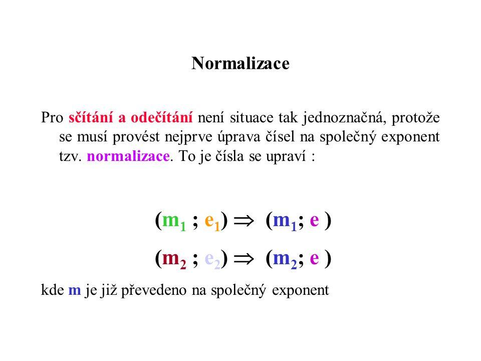 Normalizace Pro sčítání a odečítání není situace tak jednoznačná, protože se musí provést nejprve úprava čísel na společný exponent tzv.