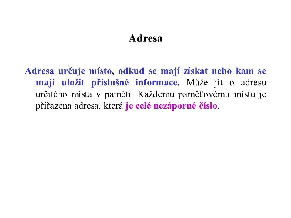 Adresa Adresa určuje místo, odkud se mají získat nebo kam se mají uložit příslušné informace.