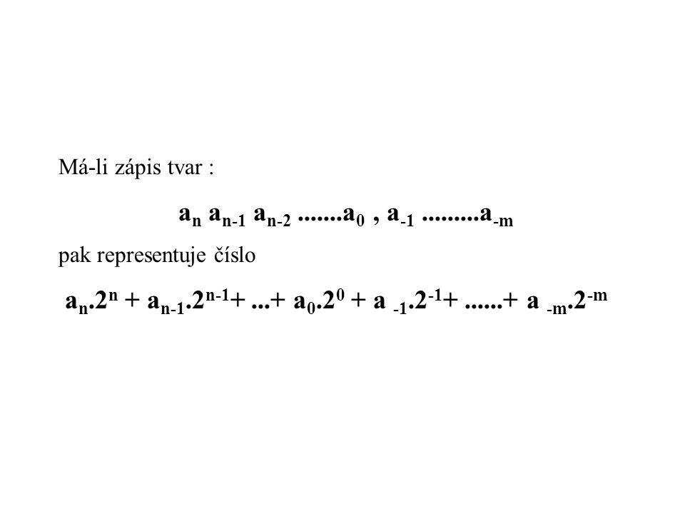 Má-li zápis tvar : a n a n-1 a n-2.......a 0, a -1.........a -m pak representuje číslo a n.2 n + a n-1.2 n-1 +...+ a 0.2 0 + a -1.2 -1 +......+ a -m.2 -m