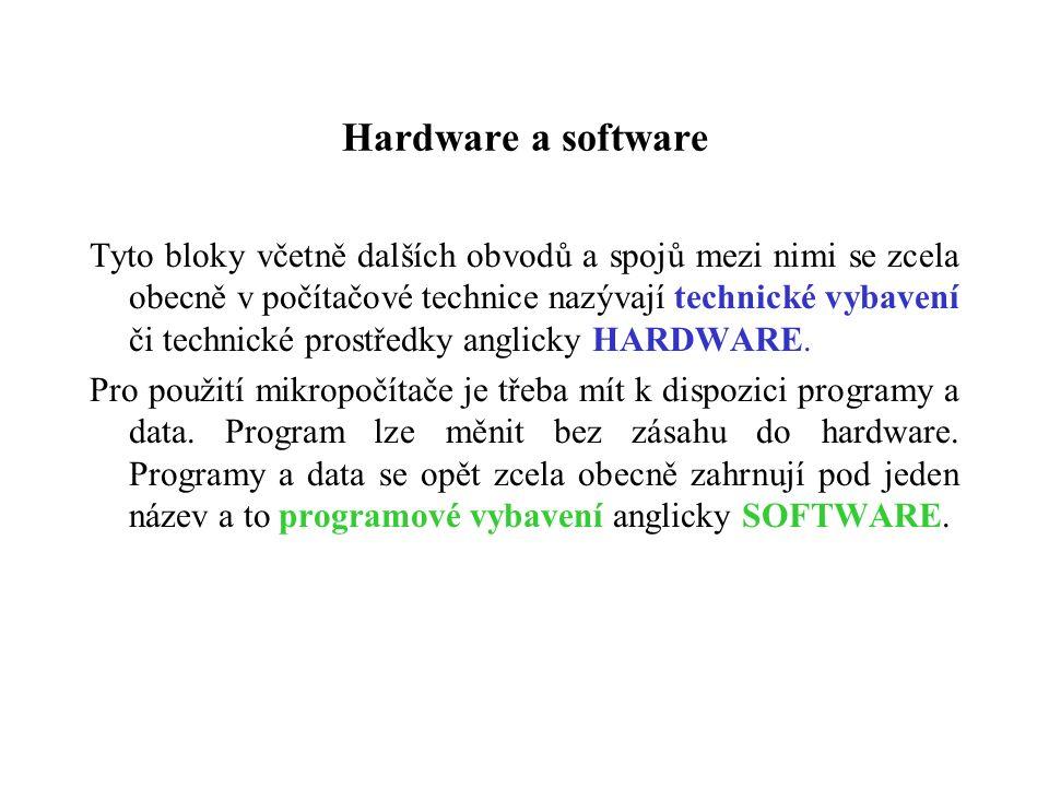 Hardware a software Tyto bloky včetně dalších obvodů a spojů mezi nimi se zcela obecně v počítačové technice nazývají technické vybavení či technické prostředky anglicky HARDWARE.