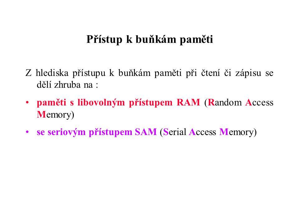 Přístup k buňkám paměti Z hlediska přístupu k buňkám paměti při čtení či zápisu se dělí zhruba na : paměti s libovolným přístupem RAM (Random Access Memory) se seriovým přístupem SAM (Serial Access Memory)