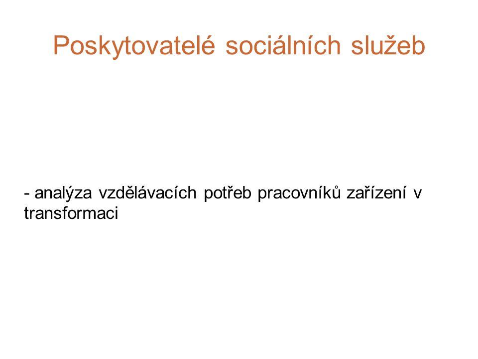 Poskytovatelé sociálních služeb - analýza vzdělávacích potřeb pracovníků zařízení v transformaci
