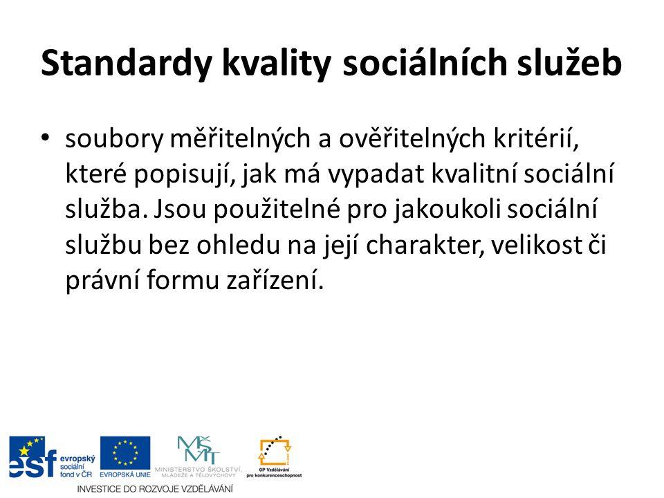 soubory měřitelných a ověřitelných kritérií, které popisují, jak má vypadat kvalitní sociální služba.