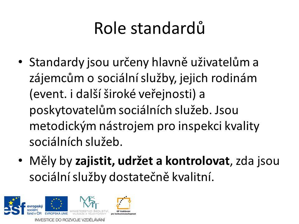 Role standardů Standardy jsou určeny hlavně uživatelům a zájemcům o sociální služby, jejich rodinám (event. i další široké veřejnosti) a poskytovatelů