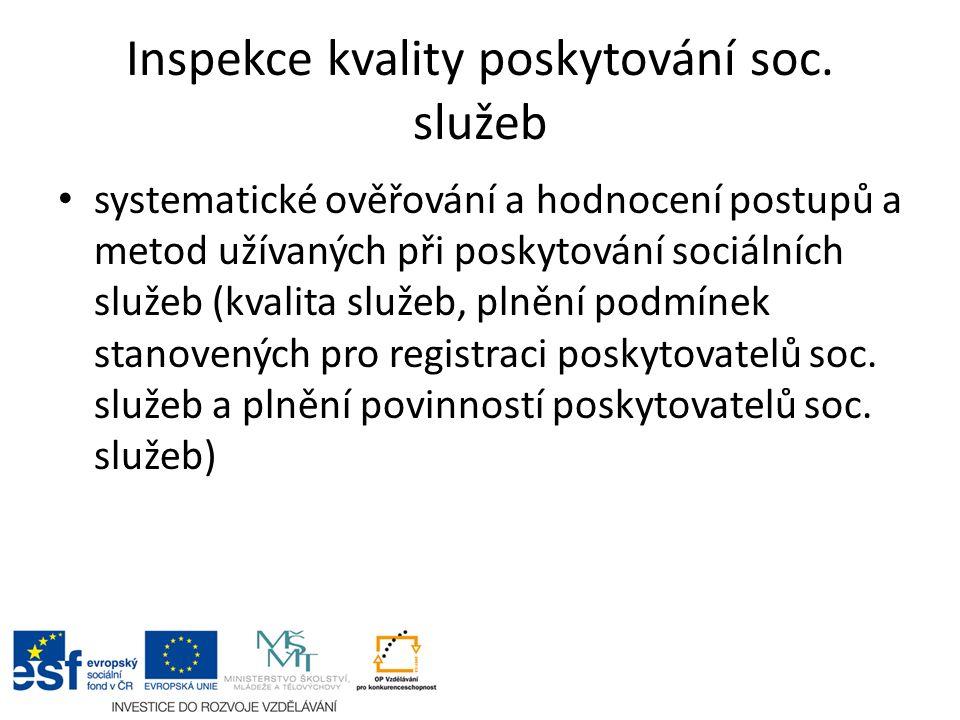 Inspekce kvality poskytování soc. služeb systematické ověřování a hodnocení postupů a metod užívaných při poskytování sociálních služeb (kvalita služe