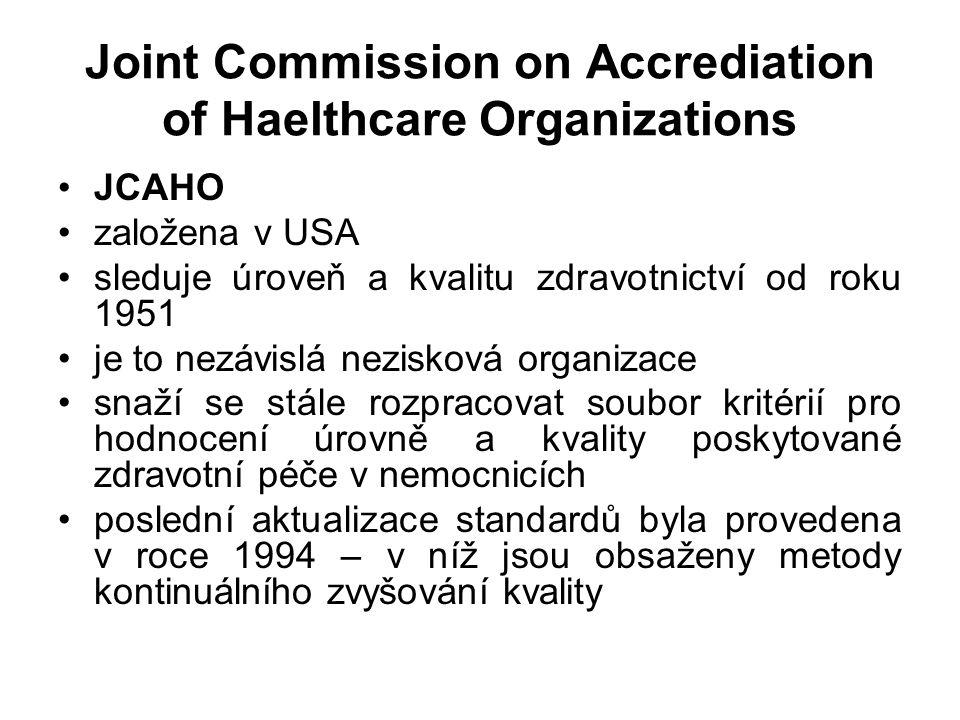 Joint Commission on Accrediation of Haelthcare Organizations JCAHO založena v USA sleduje úroveň a kvalitu zdravotnictví od roku 1951 je to nezávislá nezisková organizace snaží se stále rozpracovat soubor kritérií pro hodnocení úrovně a kvality poskytované zdravotní péče v nemocnicích poslední aktualizace standardů byla provedena v roce 1994 – v níž jsou obsaženy metody kontinuálního zvyšování kvality