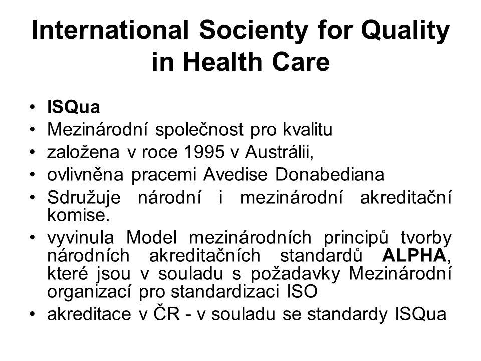 International Socienty for Quality in Health Care ISQua Mezinárodní společnost pro kvalitu založena v roce 1995 v Austrálii, ovlivněna pracemi Avedise Donabediana Sdružuje národní i mezinárodní akreditační komise.